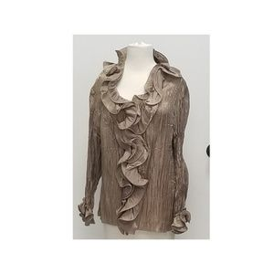 Tops - Size 2 x Gold ruffled blouse